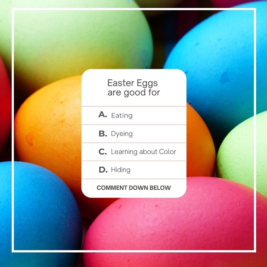 A rainbow of easter eggs with a question. Easter eggs are good for learning about color.