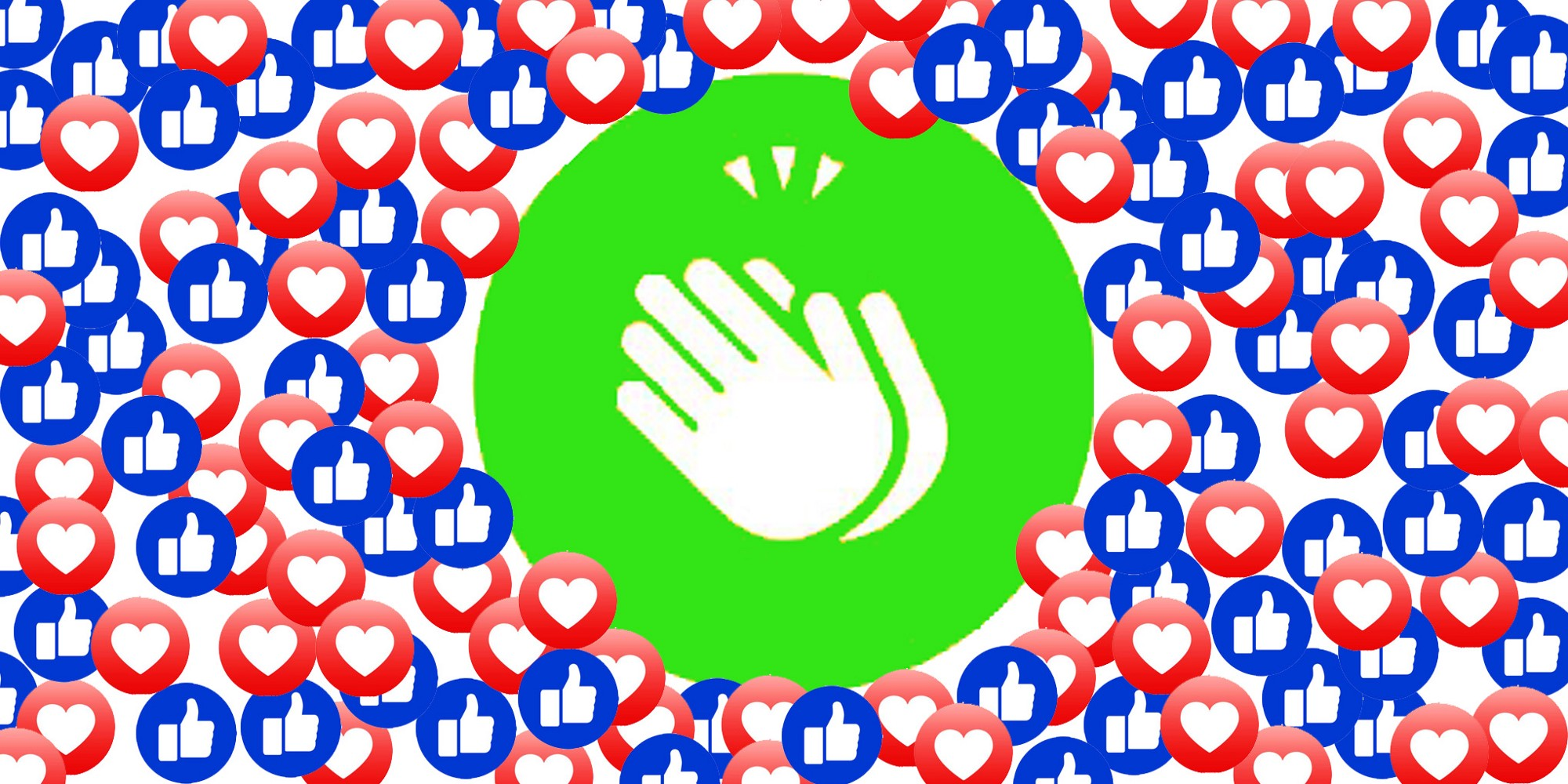A montage of social media like, love and clap emojis and icons