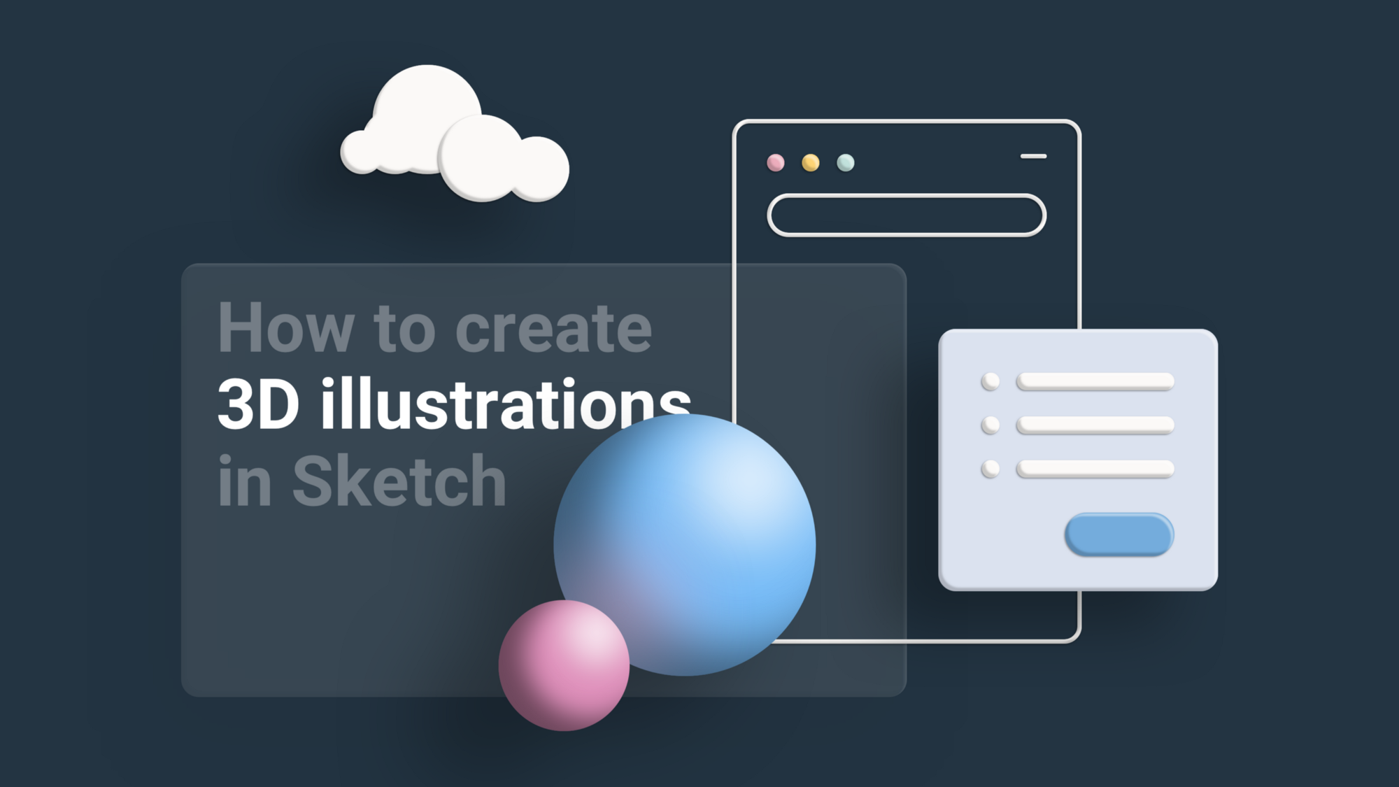 3D illustration of some UI elements, two spheres and a cloud hovering over dark background