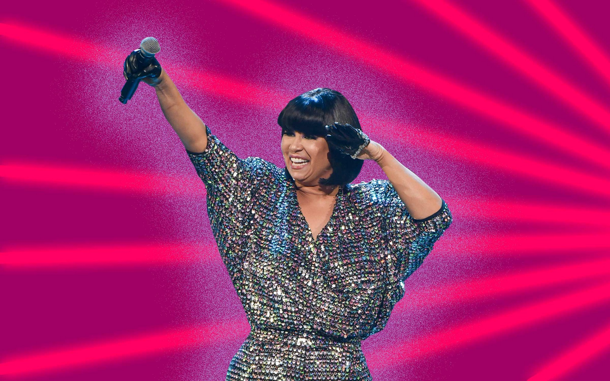 Graphic illustration of CeCe Peniston during a live performance against a fuchsia background with red light effects.