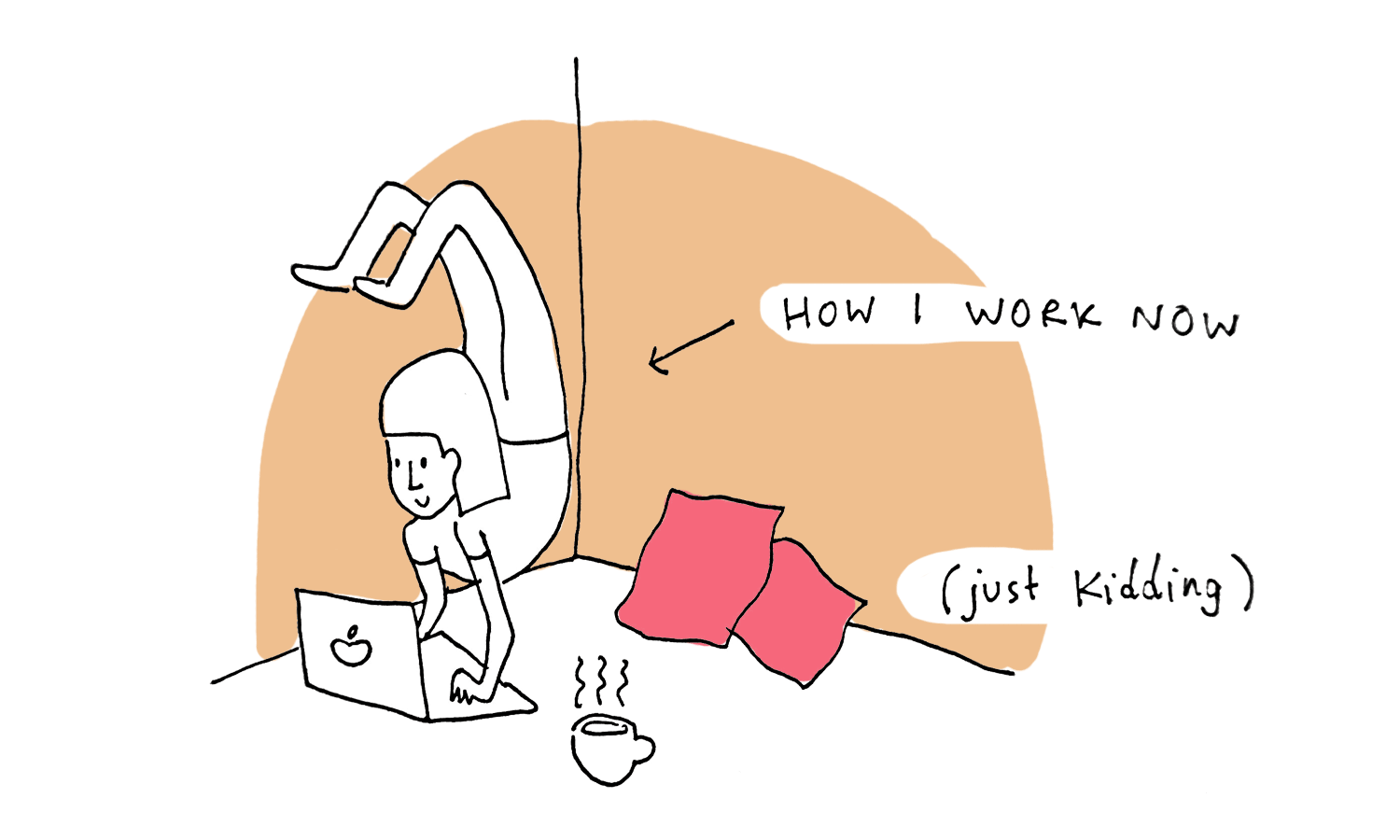 An illustration of the author doing a hand stand on her laptop keyboard.