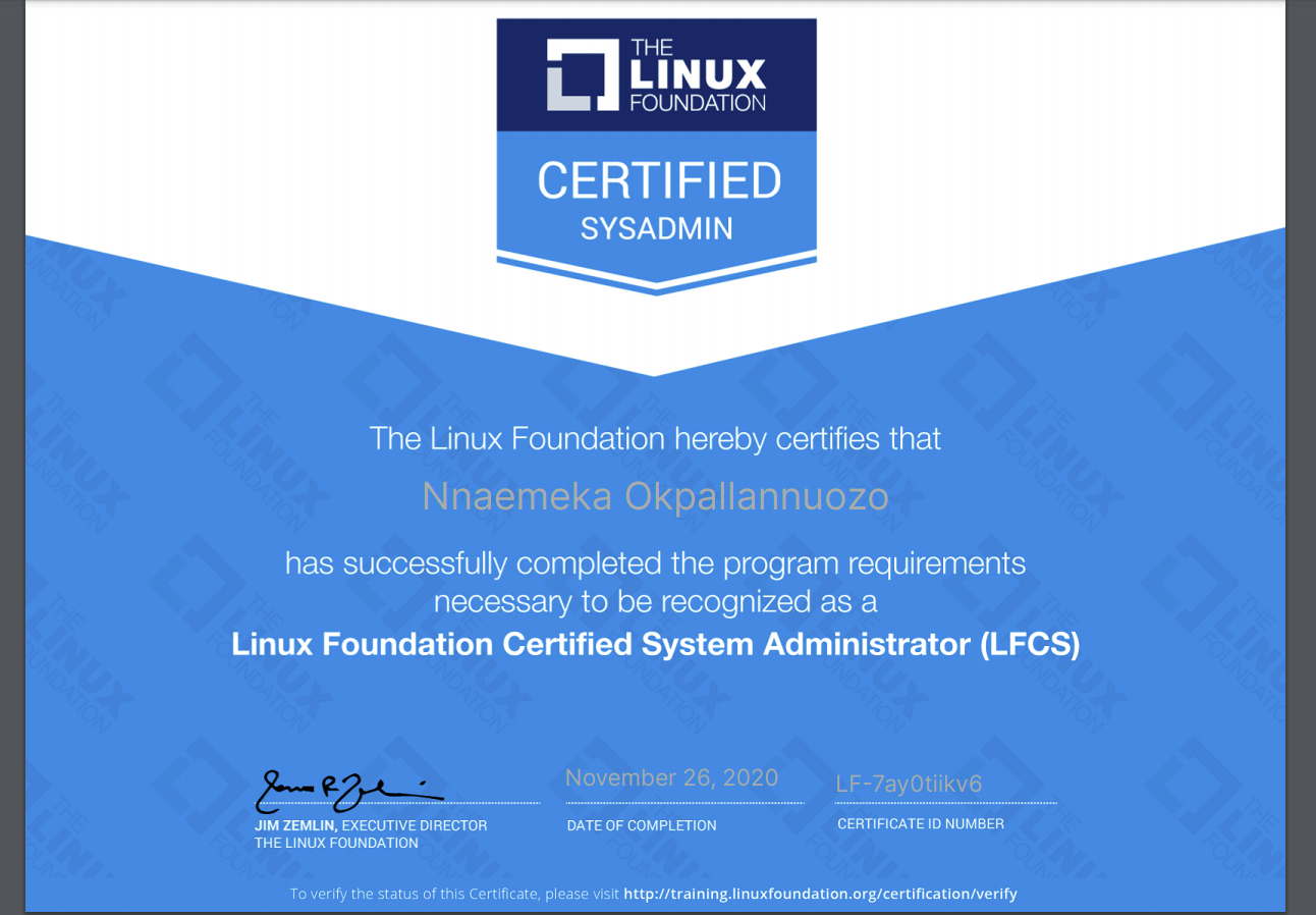 A Linux Foundation Certified System Administrator (LFCS) certificate