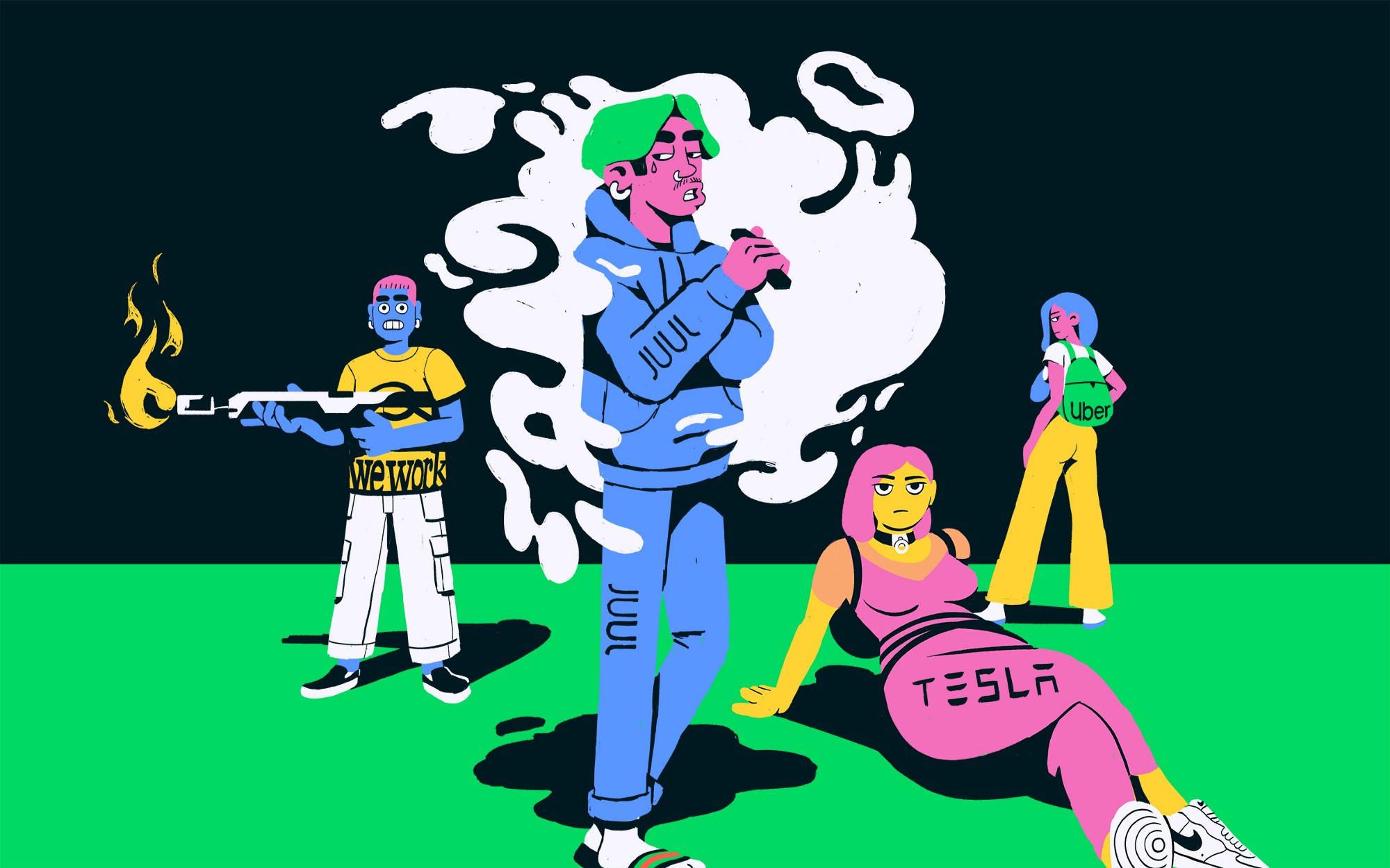 Four illustrated characters representing WeWork, Juul, Tesla, and Uber are in various poses, with smirks on their faces.