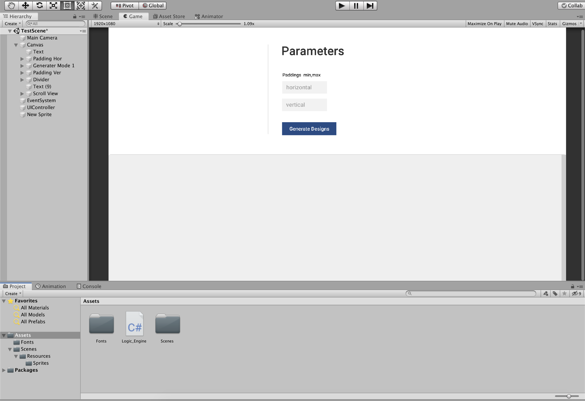 Screenshot of Unity3D, a game engine software that I used to create the first logic. It has 2 fields, title and a button