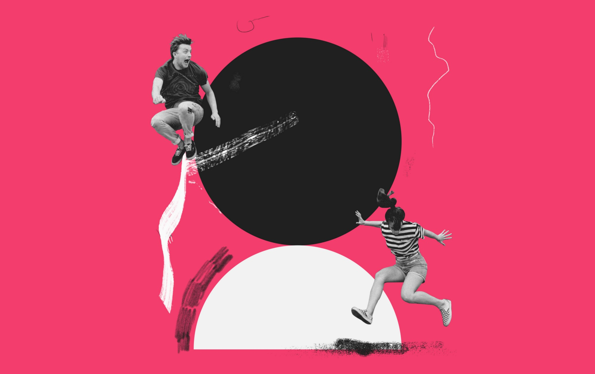 An artwork representing a man and a woman jumping. It has a pink background with a black circle and a white half-circle.