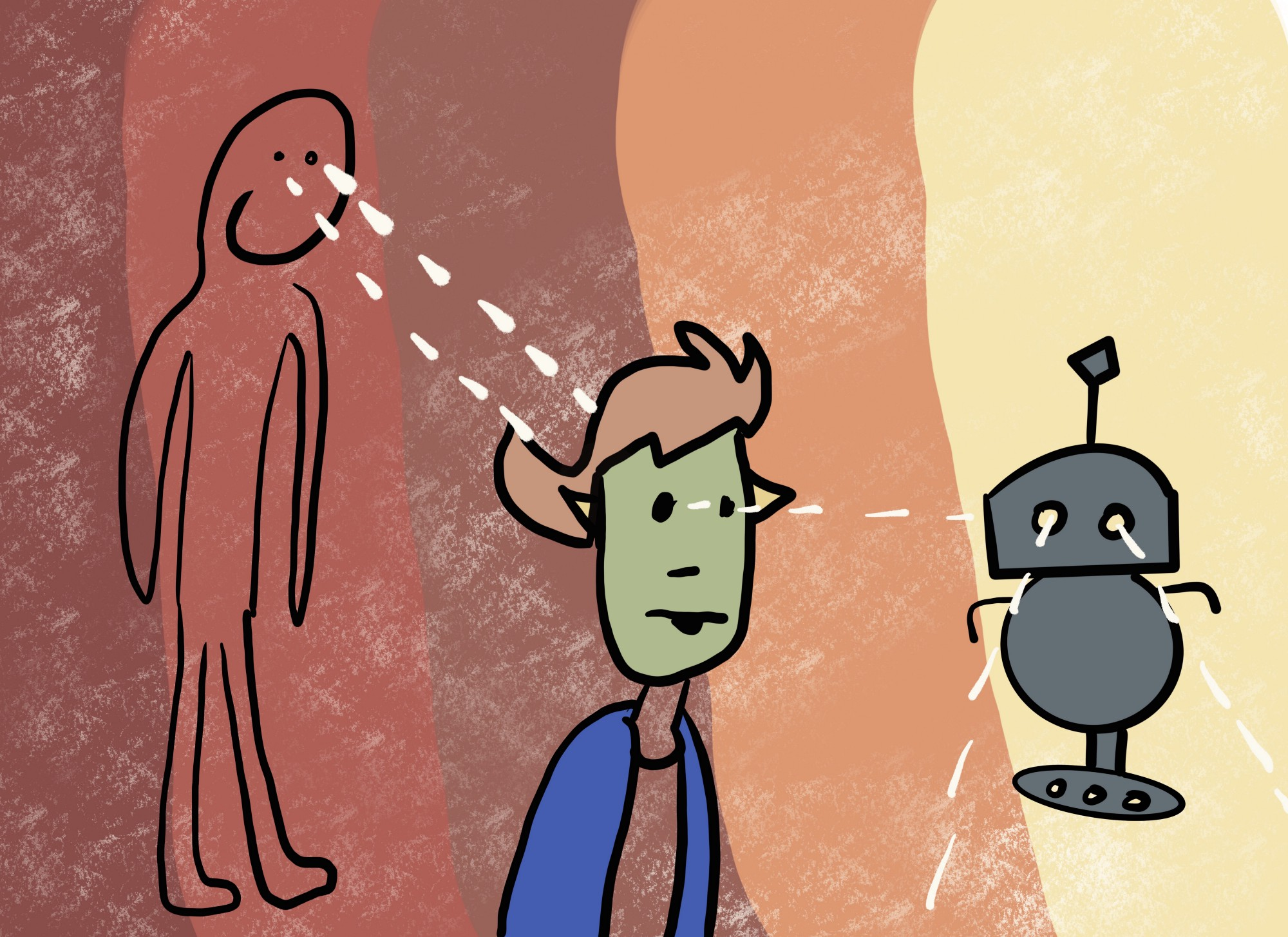 An illustration of a person staring at another person staring at a robot. White lines indicate lines of sight.
