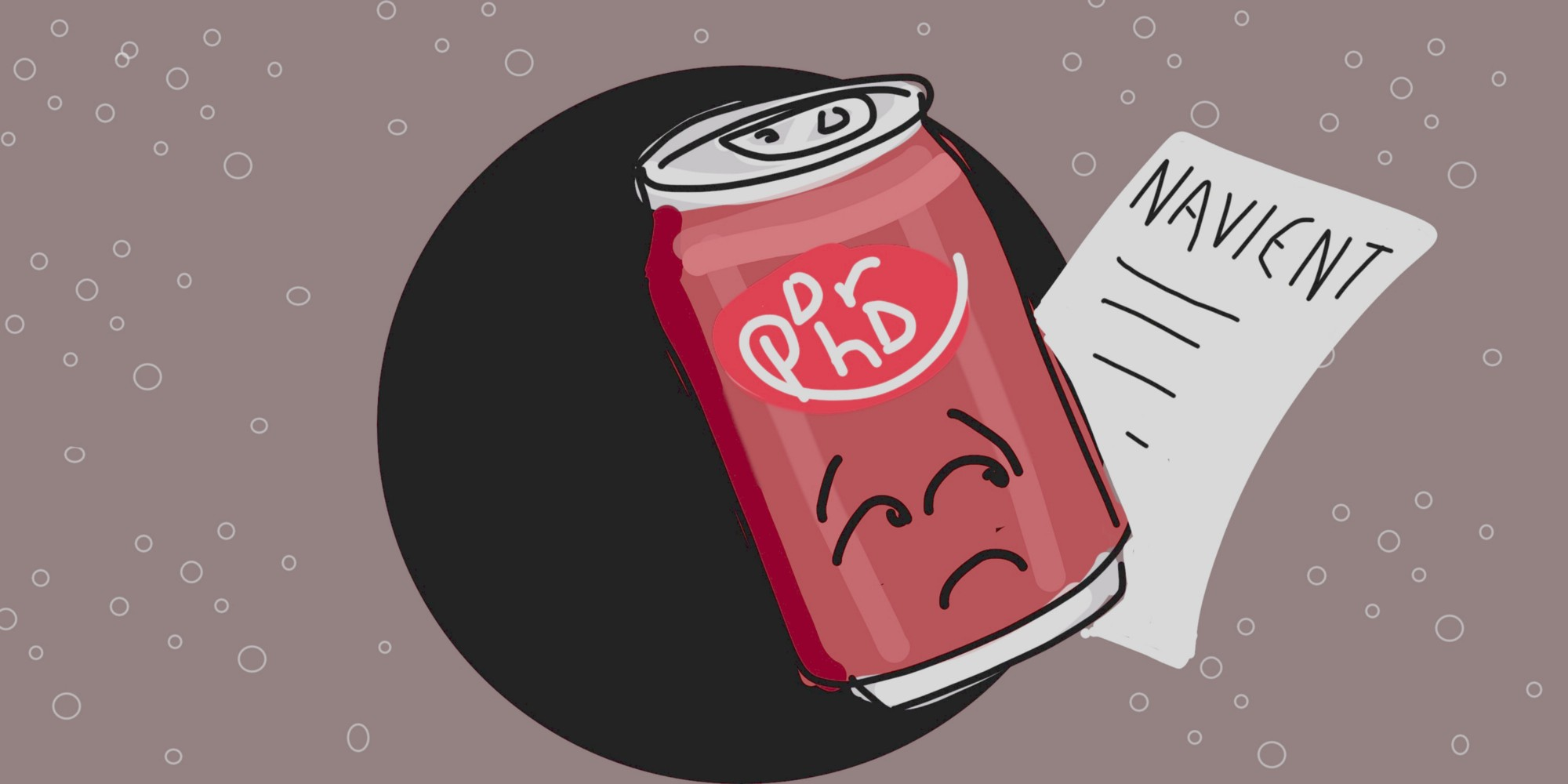 Sad Dr Pepper can holding student loan statement