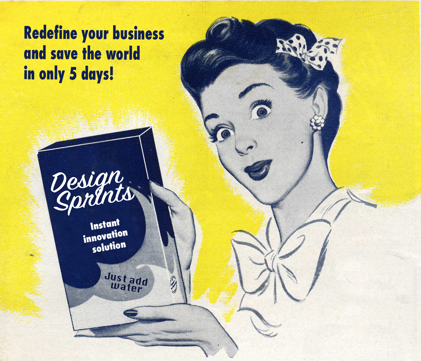 Old commercial of a washing powder edited to promote Design sprints with an ironic statement about Design sprints