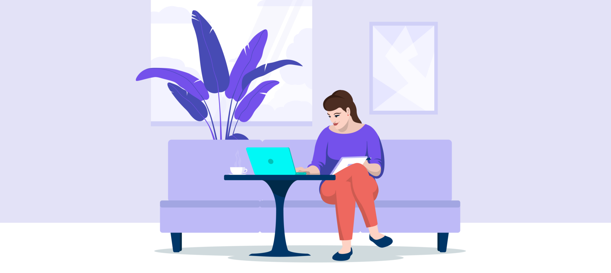 Illustration — woman in a sofa with her laptop