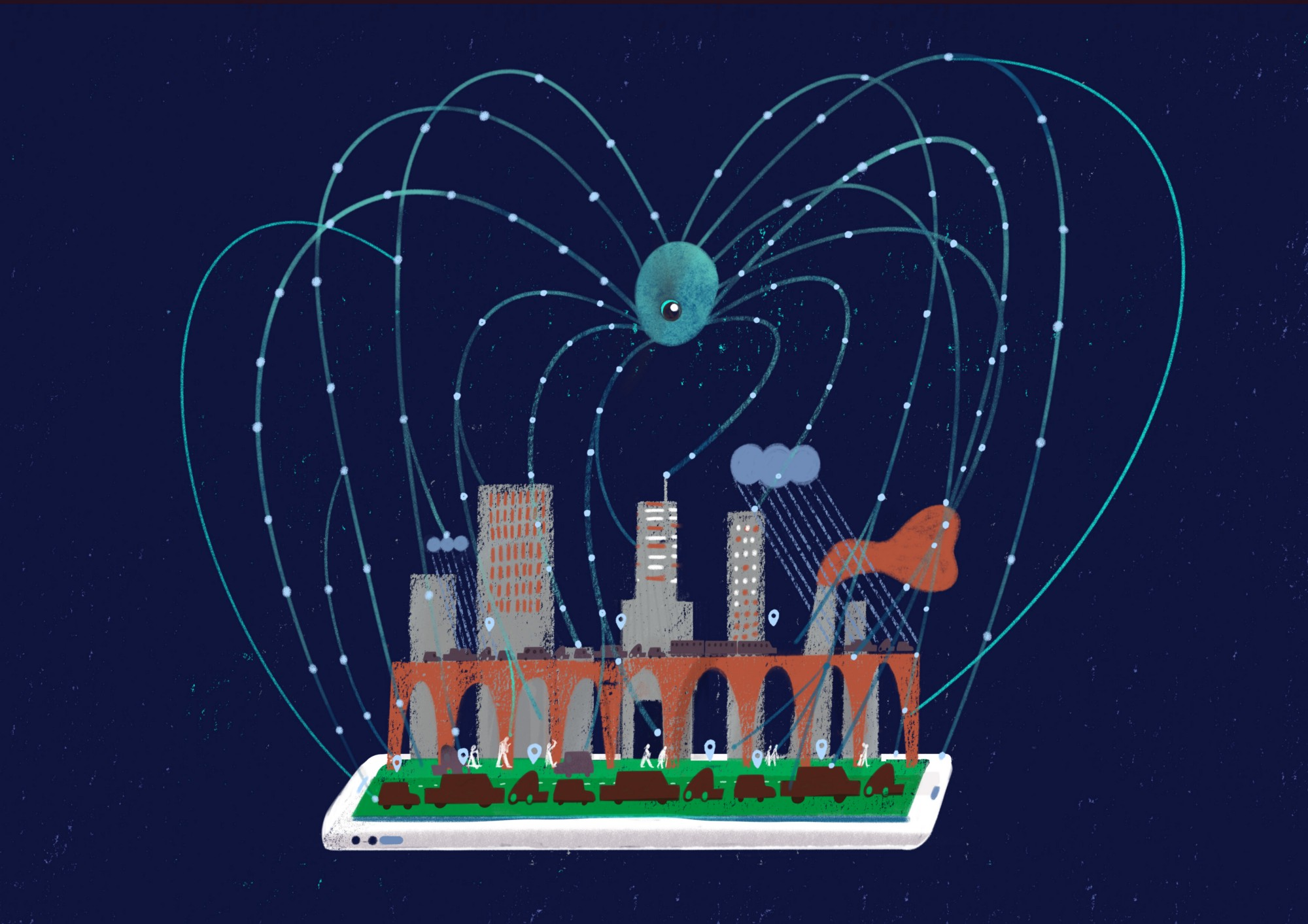 Illustration of a giant, surveilling spider with many legs spreading into a digitised city popping up from a smartphone