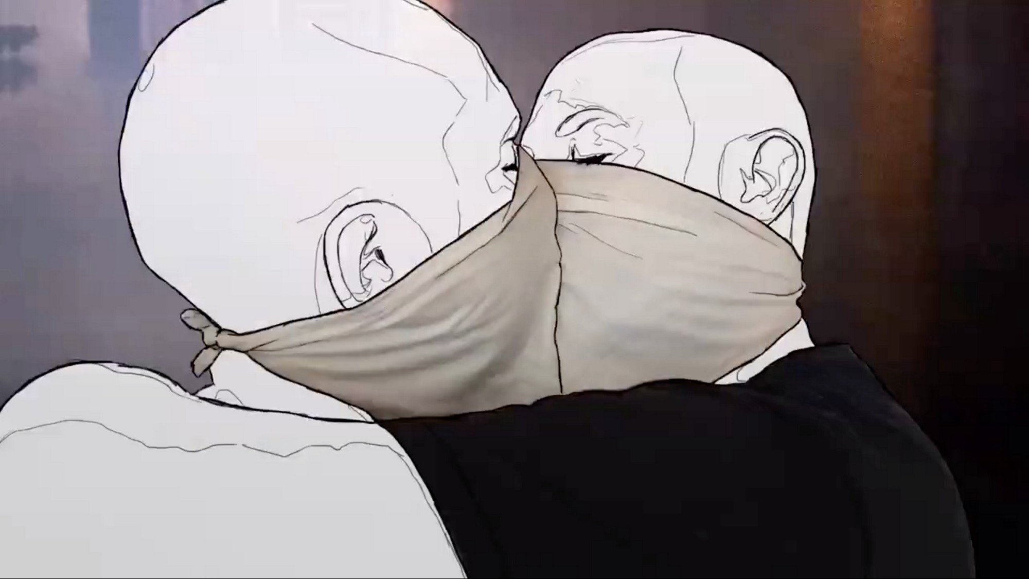 digital illustration of two people with bald heads wearing bandana face masks and kissing