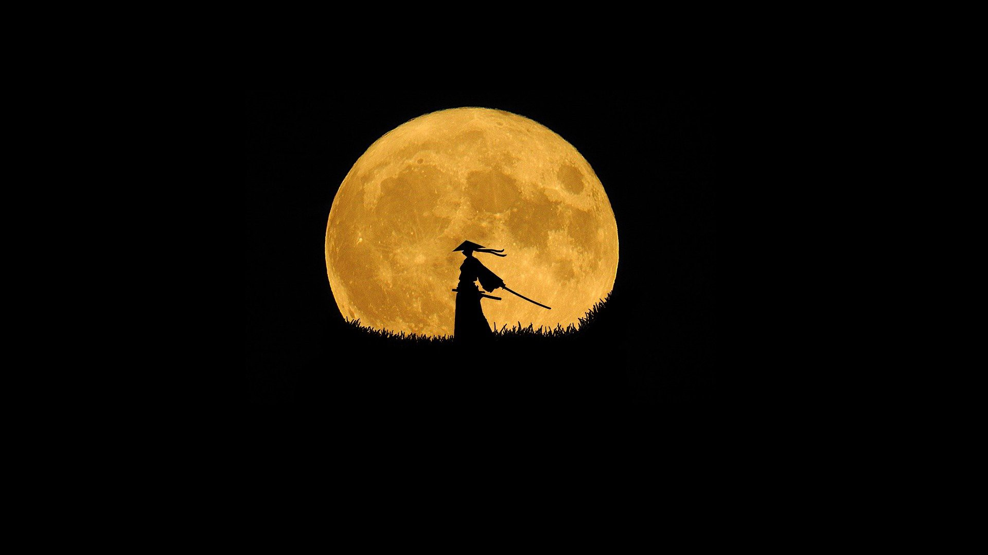 Samurai taking action with a moon behind him
