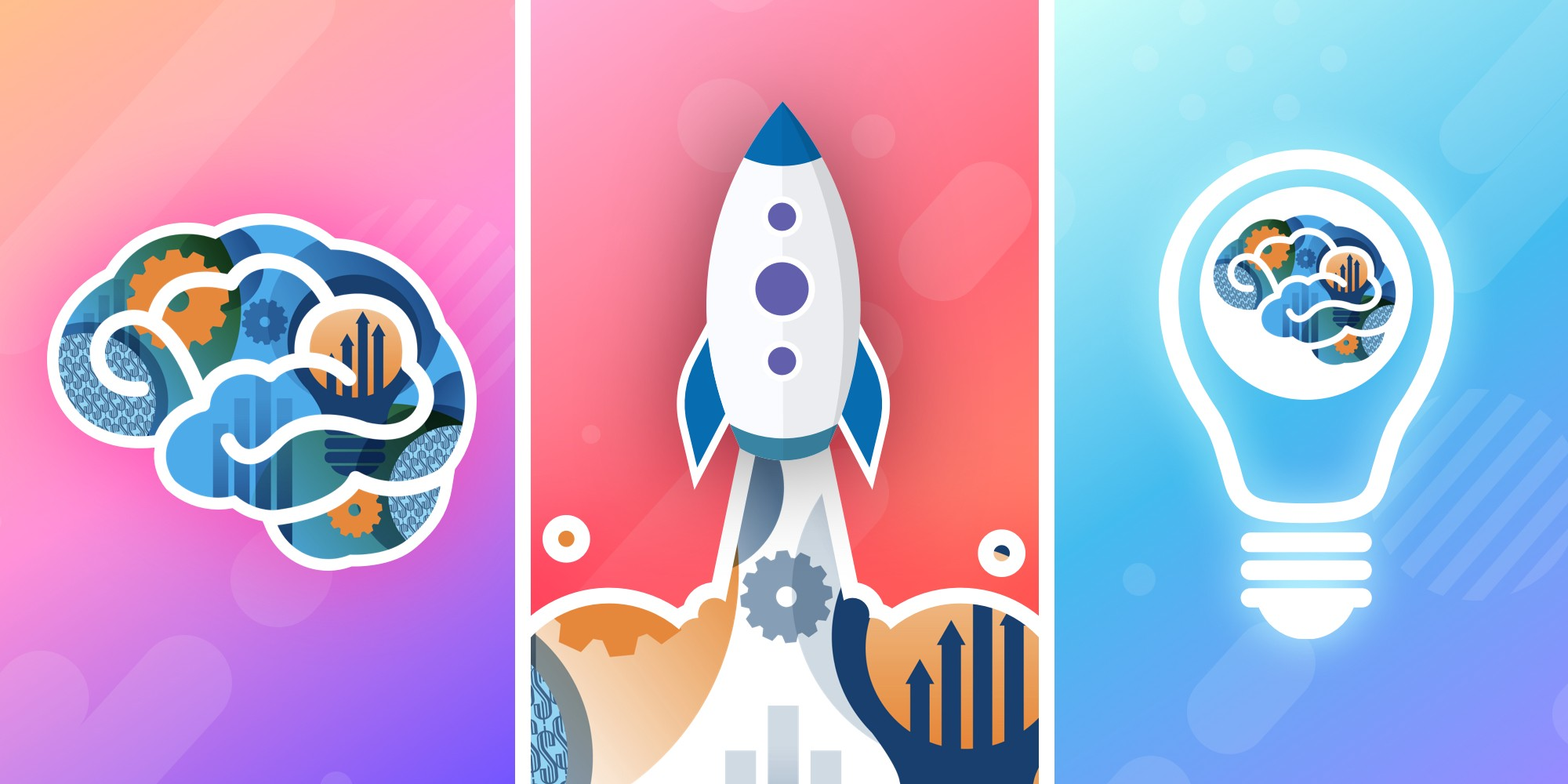 An illustration split into three parts including a brain, rocket ship, and a lightbulb, each representing behavioural design