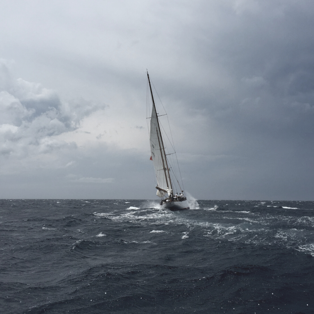 Sailboat on a stormy sea