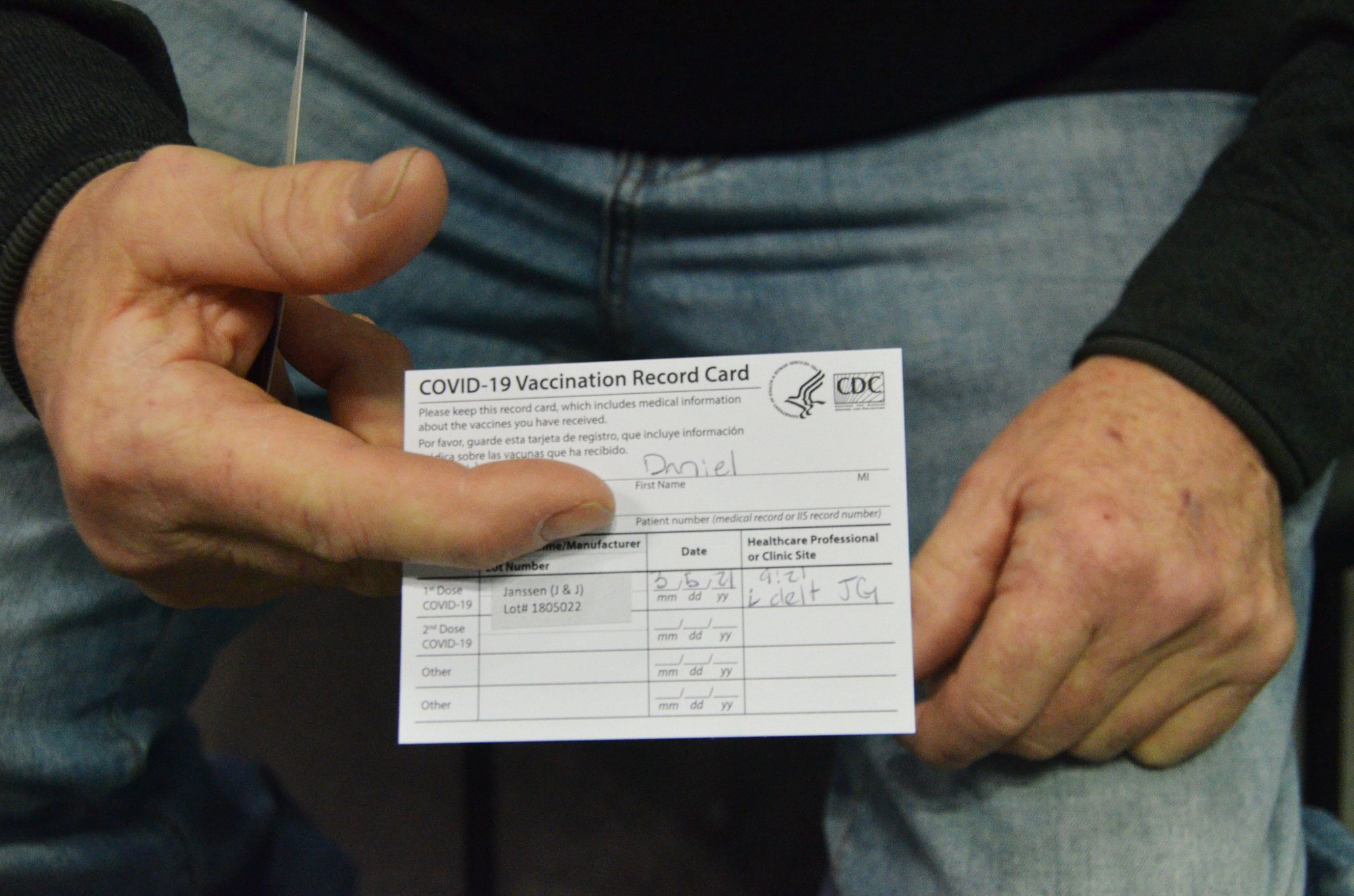 Pictured: Genuine vaccination card of the first person to receive the Johnson and Johnson vaccine at the Javits Center in March 2021. Photo by New York National Guard.