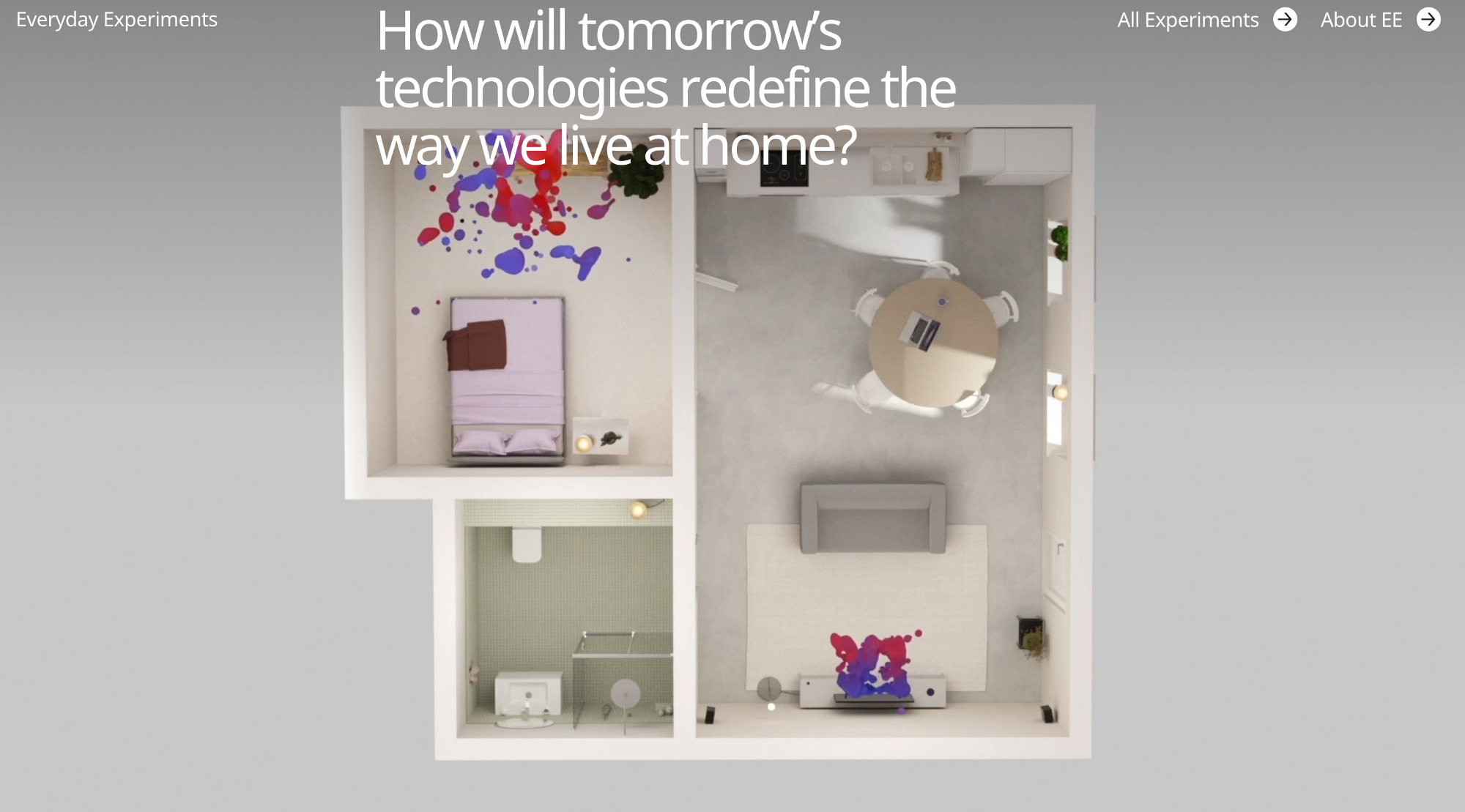 How will tomorrow's technologies redefine the way we live at home? We see a bird's eye view of an apartment floor plan, with red and blue ink projecting from some of the walls.