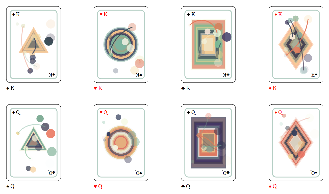 Sounds obvious, but the Playing Card Generator creates playing card designs.