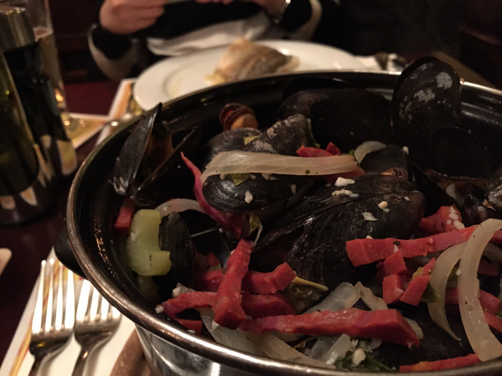 We decided to escape the traditional fares and opted for something international. This dish is a pot of mussels at a Belgian Restaurant.