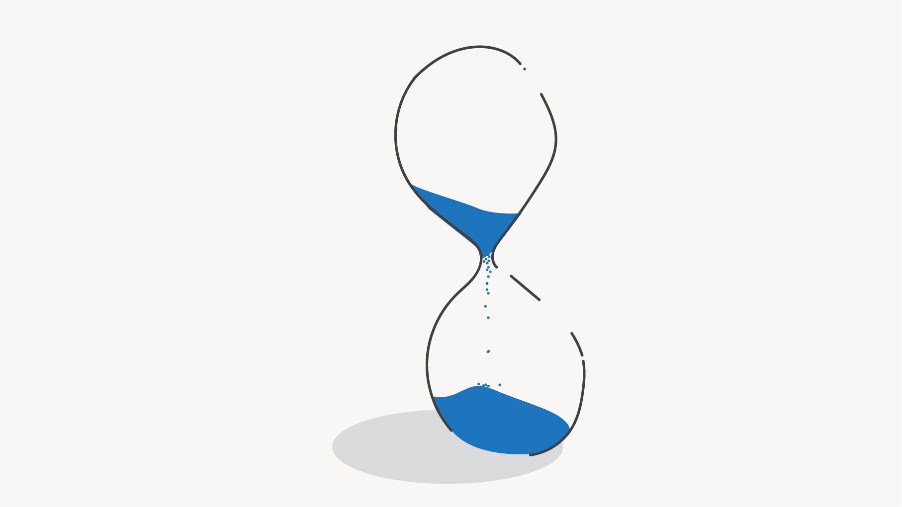 Illustration of an hourglass with blue sand sifting through it