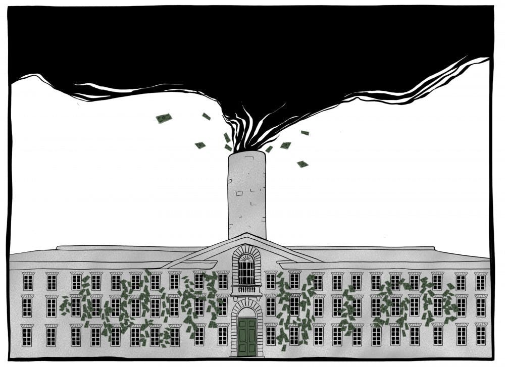 An illustration that accompanied a column in The Daily Princetonian about Princeton's investment in fossil fuels.