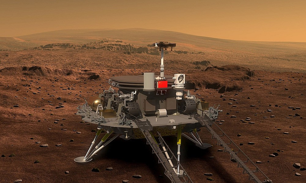 A flat, disk-shaped lander and rover on Mars.