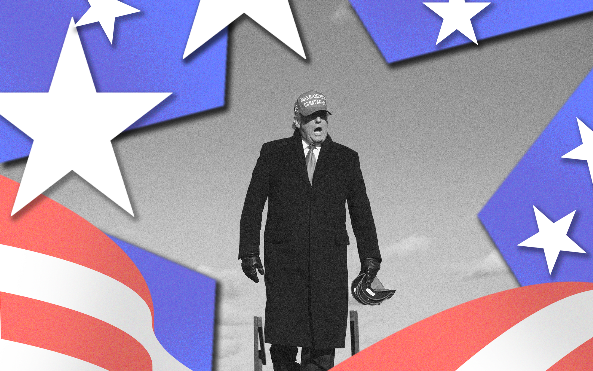Black and white image of Donald Trump against stars and stripes graphics in foreground.