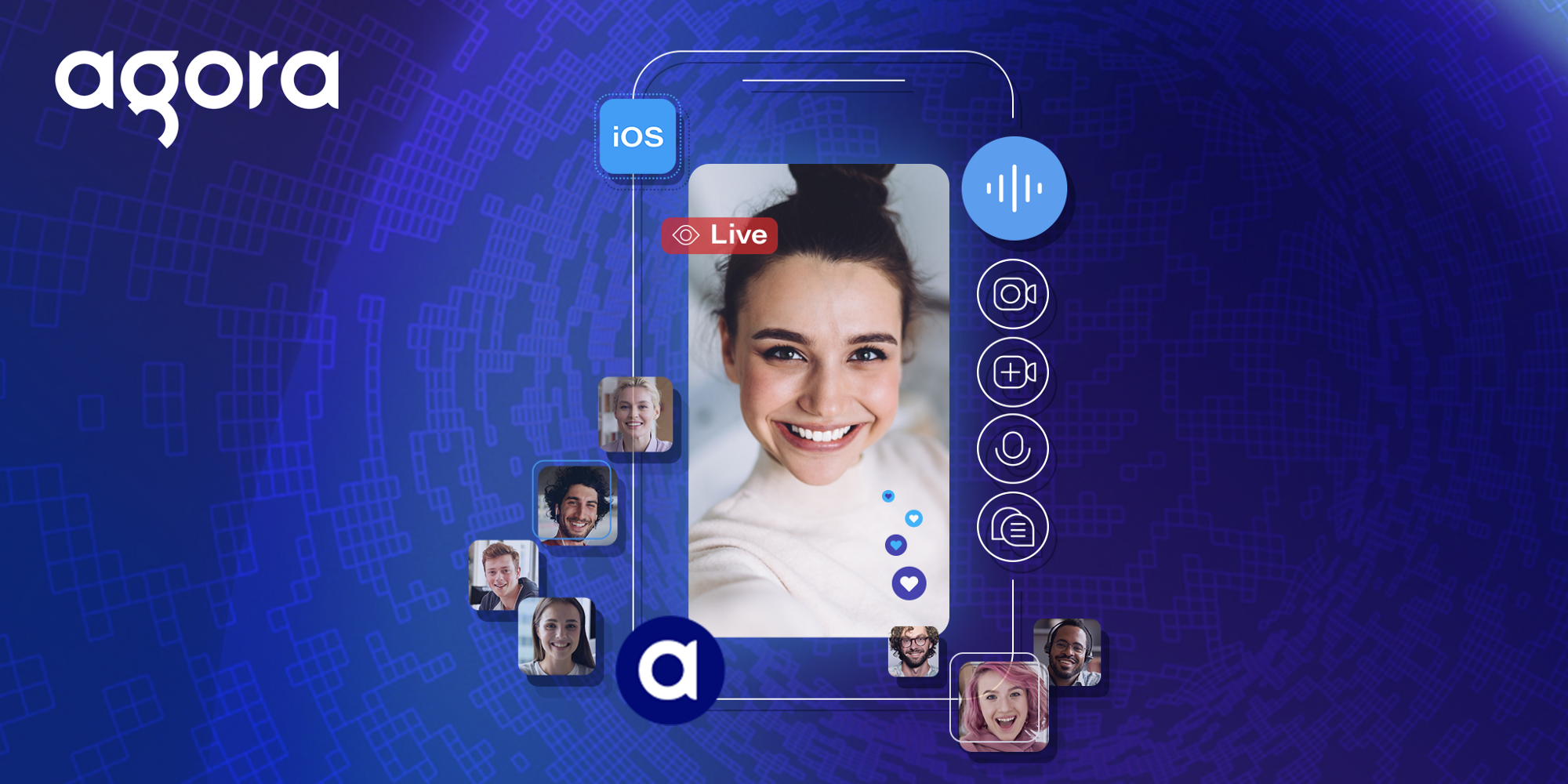 banner image, showing a live streaming app