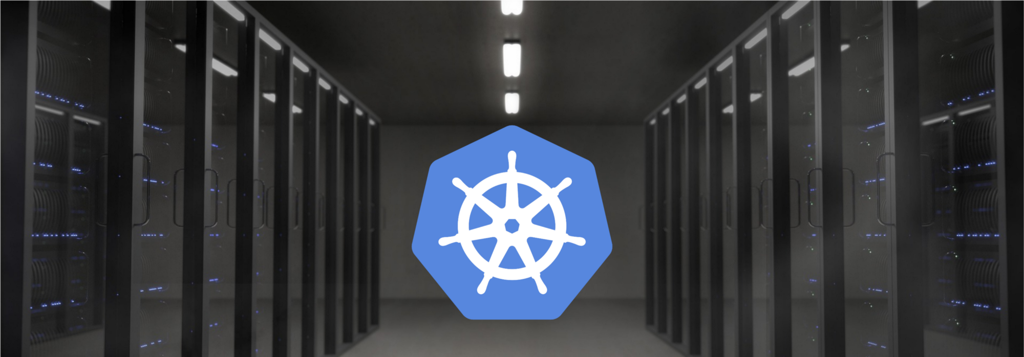 Picture of the Kubernetes logo in a data center