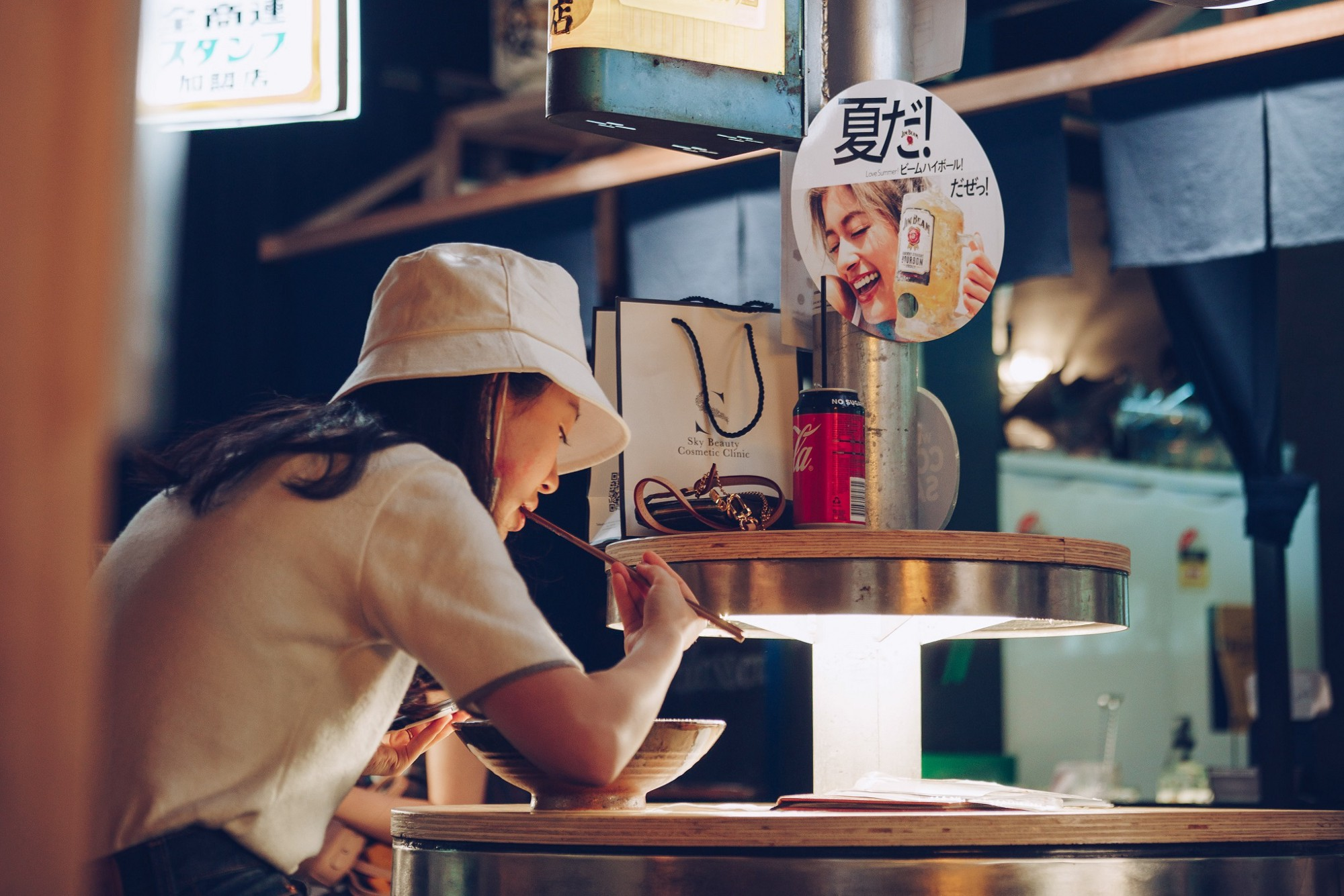 Japanese woman eating in a restaurant