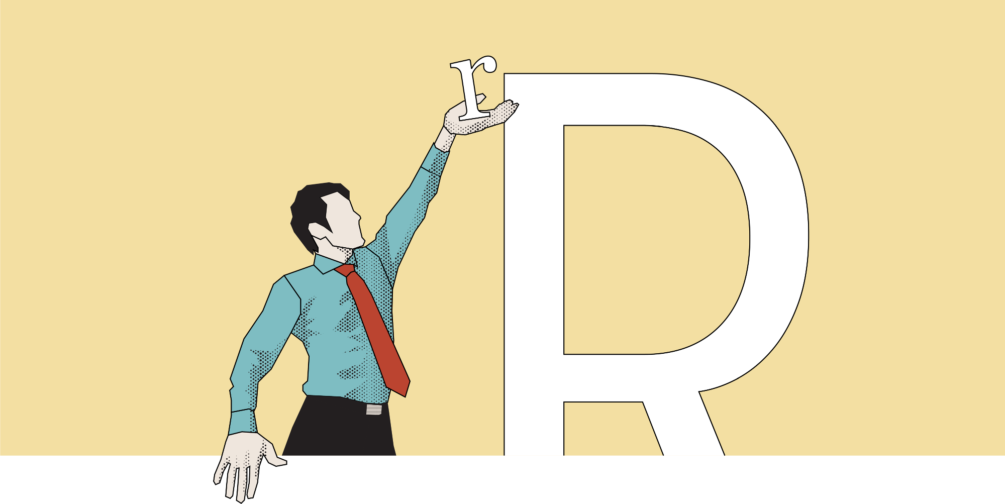 A man in tie reaching up to position a lowercase r above the height of an uppercase R.