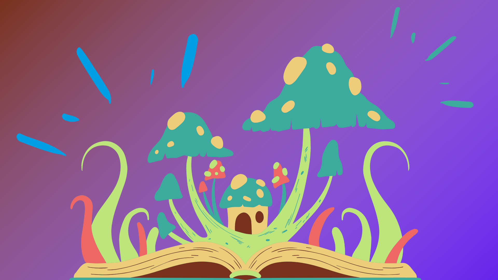 A psychedelic blue & yellow house surrounded by psychedelic mushrooms on a purple background.