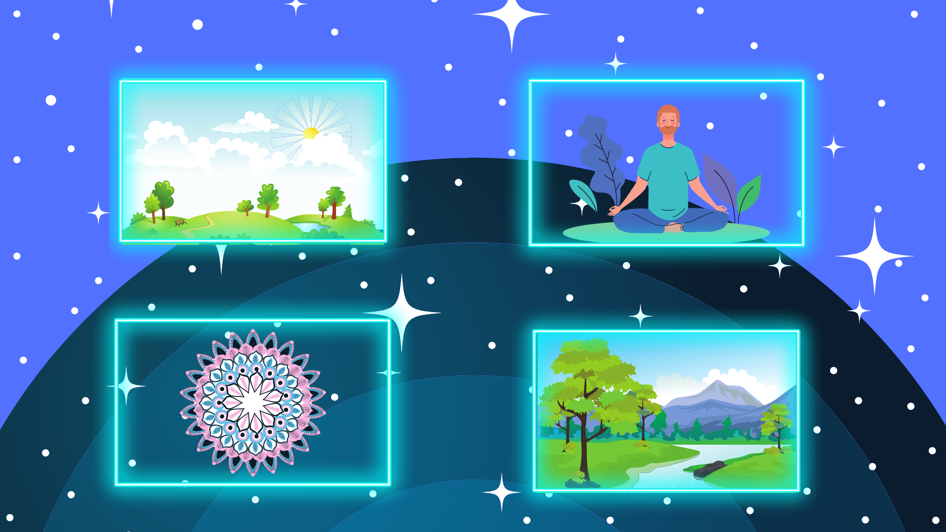 Four different neon squares with different pictures in them on a blue, semi-round background.