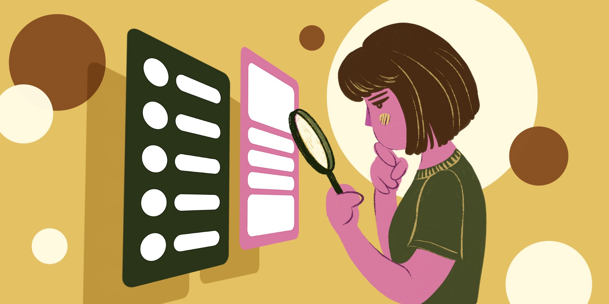 Colorful illustration of a woman holding a magnifying glass and examining some abstract UI screens