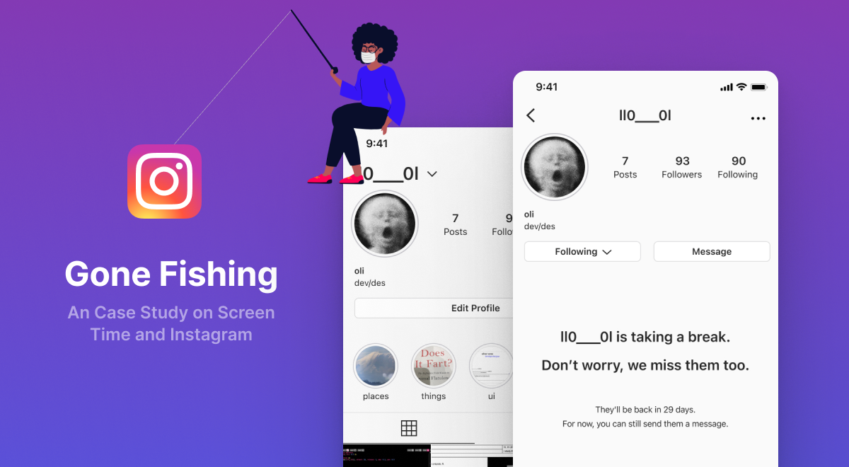 A graphic of a person sitting on top of a instagram mockup with a fishing pole. The reel is hooked onto the Instagram logo.