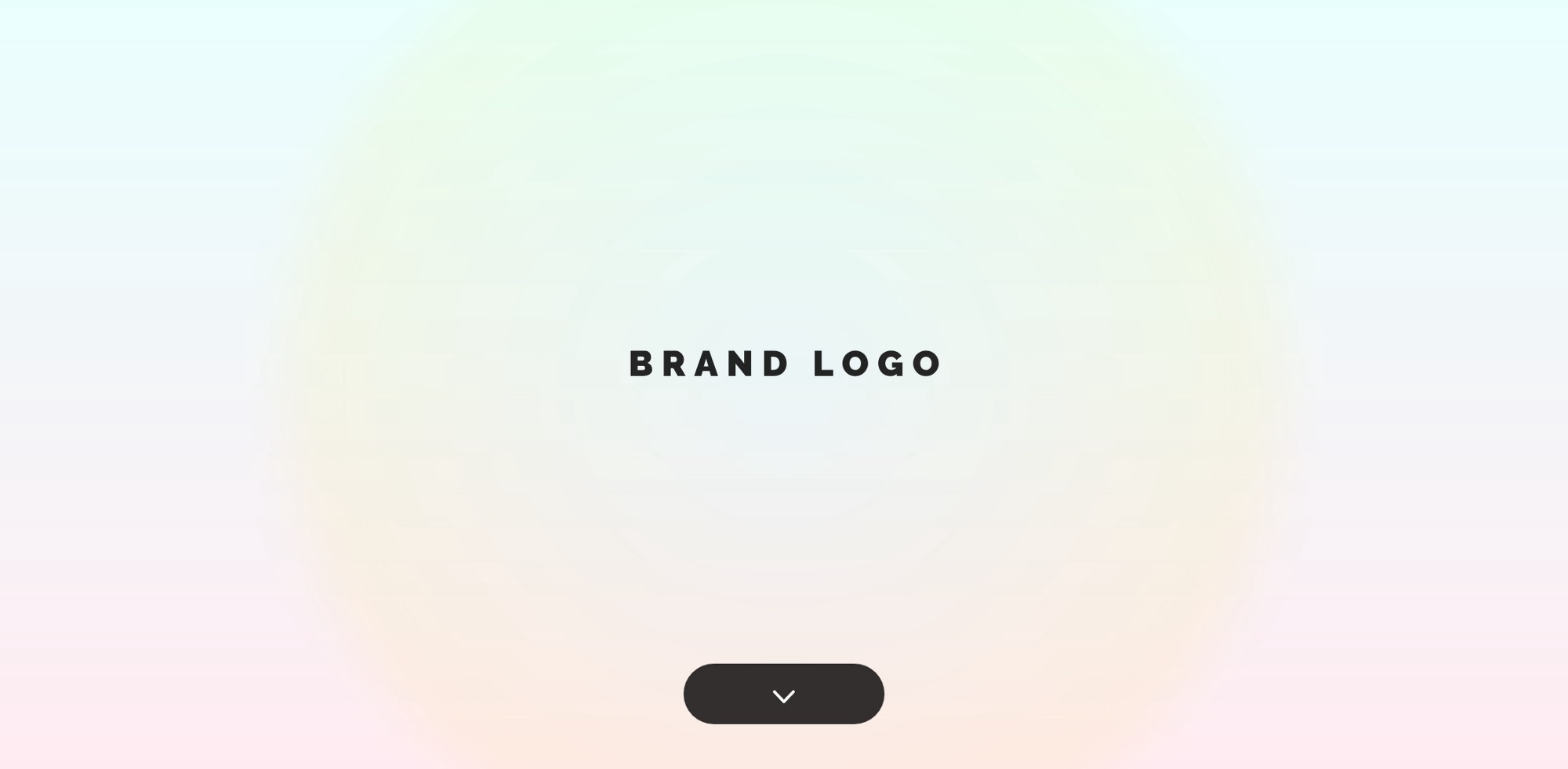 This landing page is defined by white space. The brand logo is featured in the center of a full color gradient screen, and one actionable button sets the content hierarchy, to scroll down.