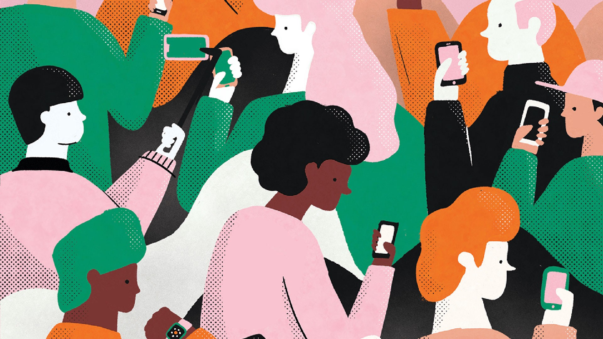 Illustration from Kenzo Hamasaki called Wifi Society showing people from multiple ethnicities using smartphones.