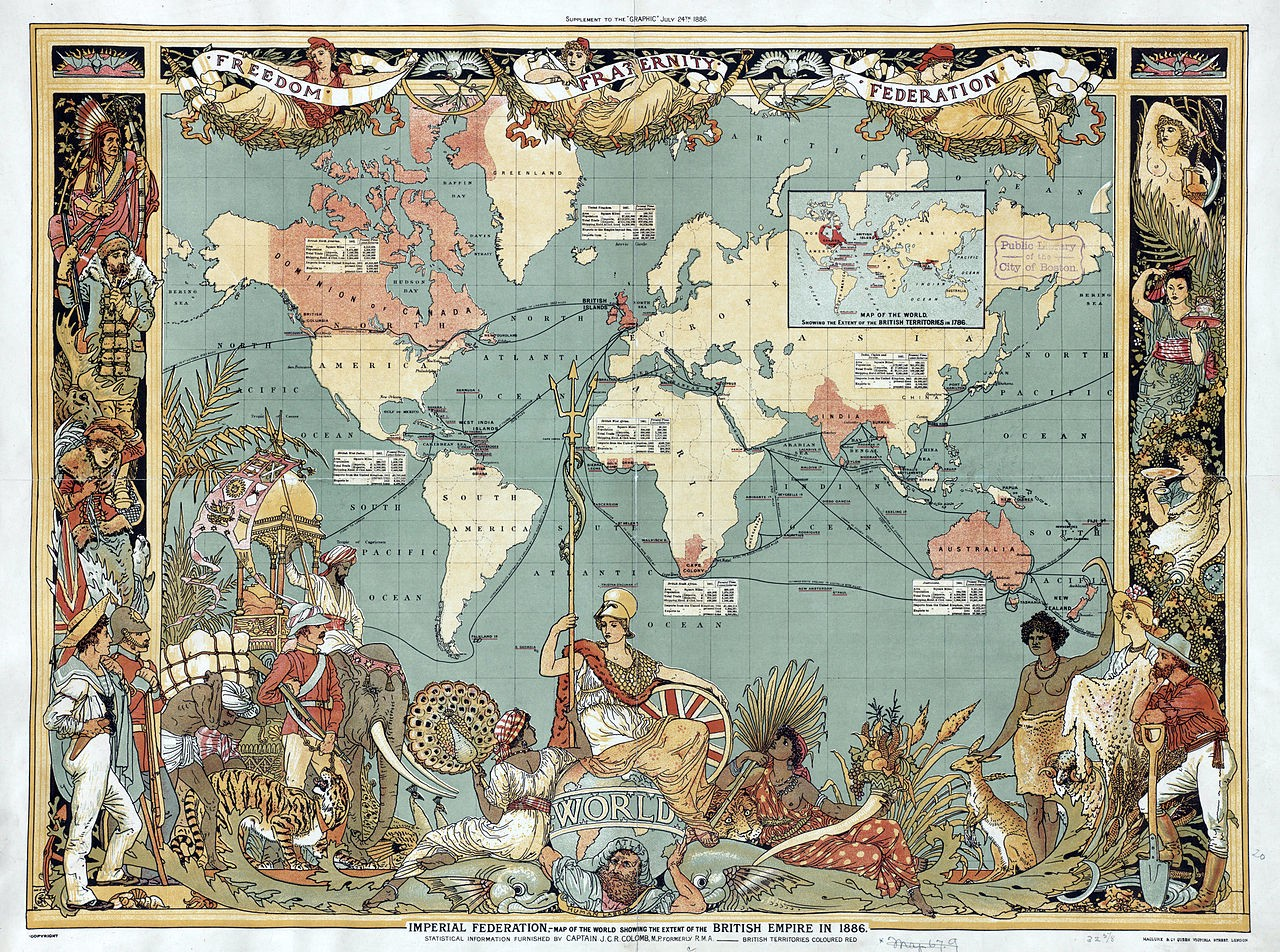 An antique rectangular world map showing the territories of British Empire in 1886. These include Britain, Canada, South Africa, India and Australia, among other smaller regions.