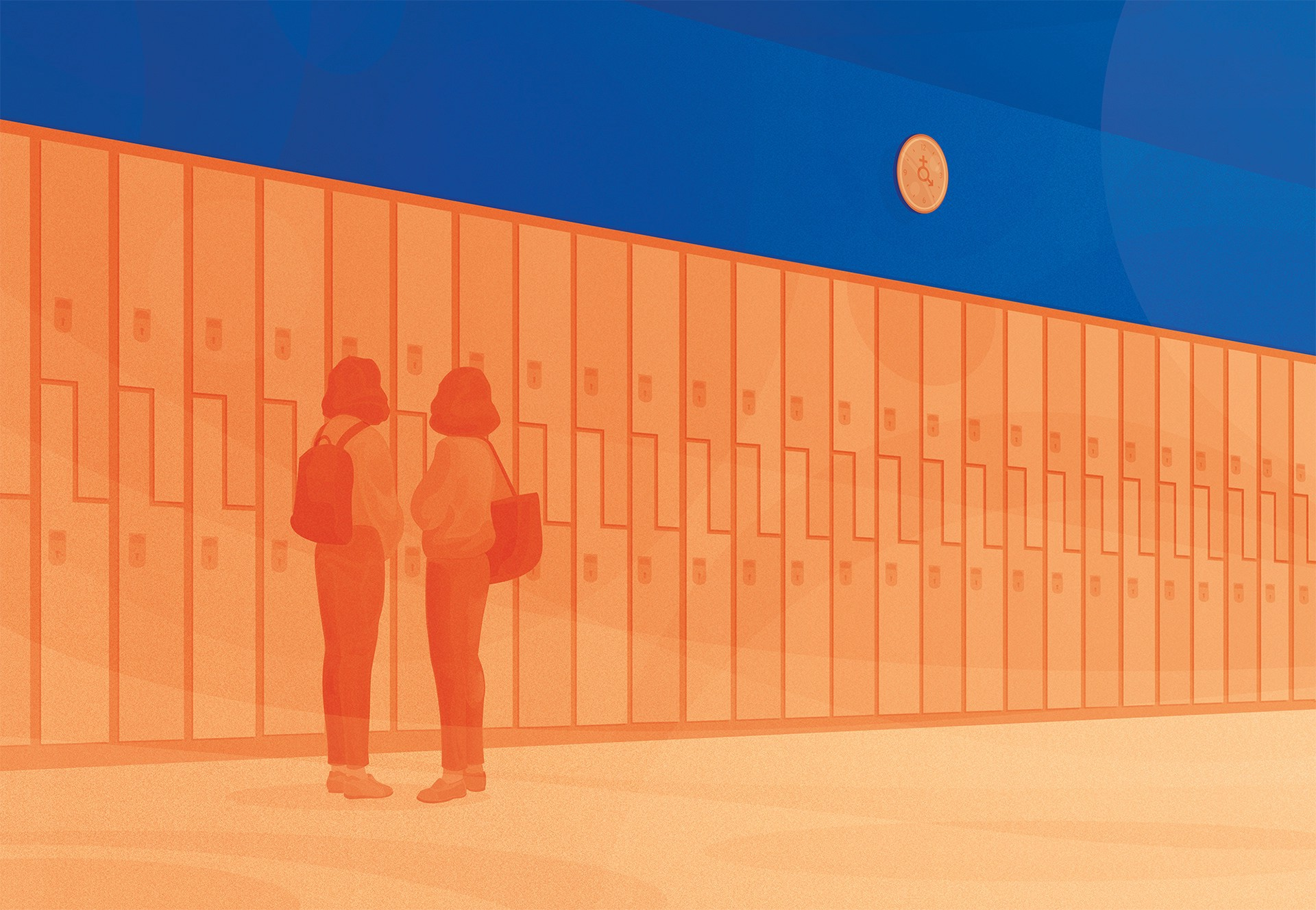 Mirrored girl on a row of lockers stare at the clock on the wall.
