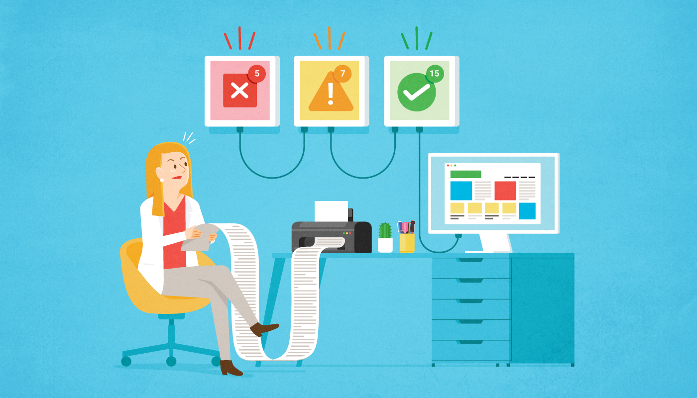 Illustration of a cumputer issuing website accessibility errors will a woman reviews and categorizes those errors.