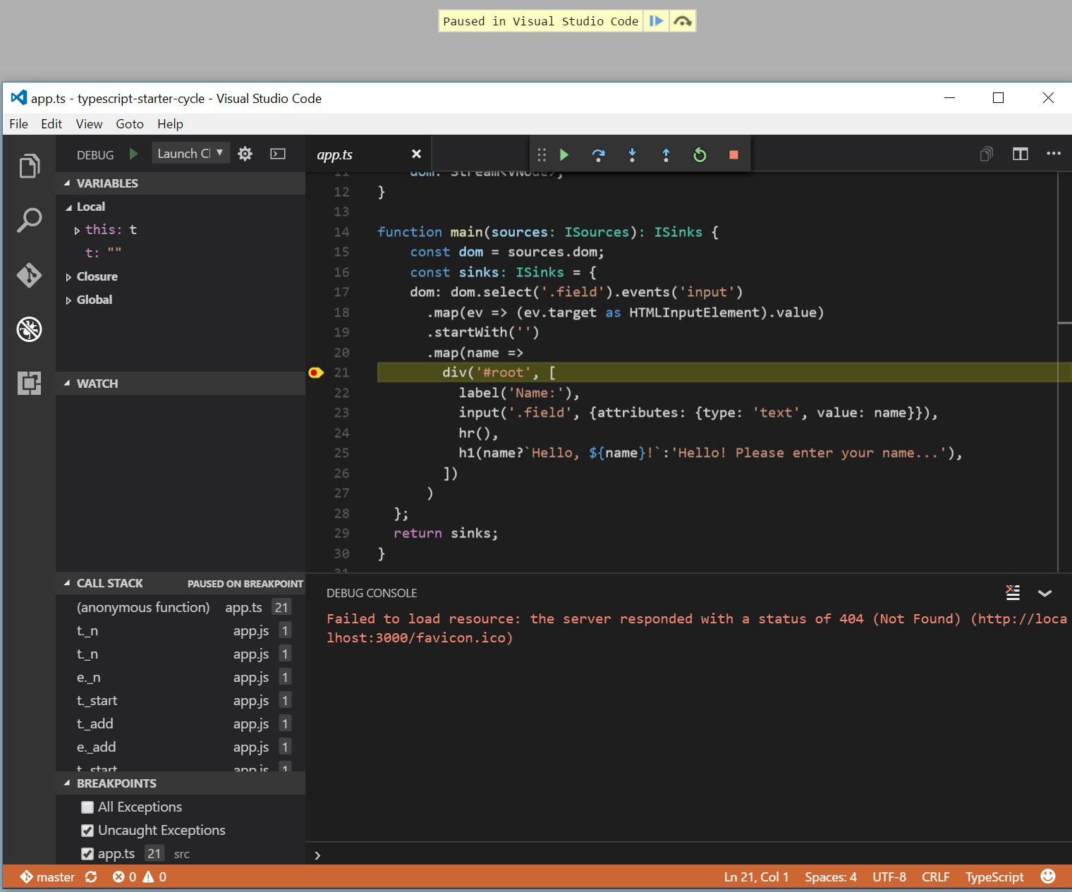 Cycle js Quick Start with TypeScript and Webpack in Visual Studio Code