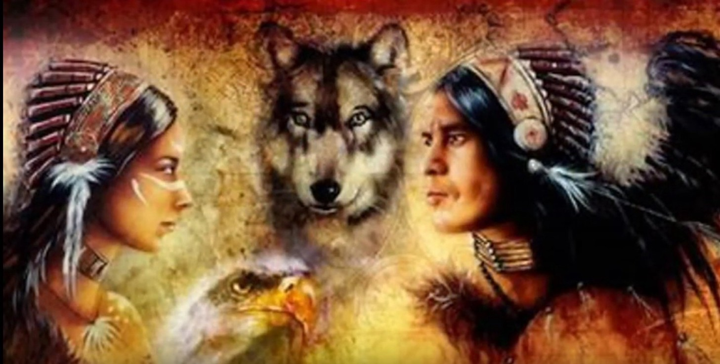 Artwork depicting male and female Native American's in Head-dress with Wolf and Golden eagle in background