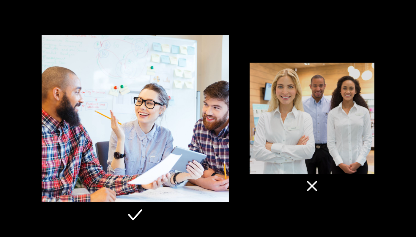 Two different stock photos showing employees together. One is in motion, and one is posed.