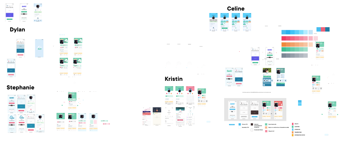 A zoomed out Figma file of messy design explorations.
