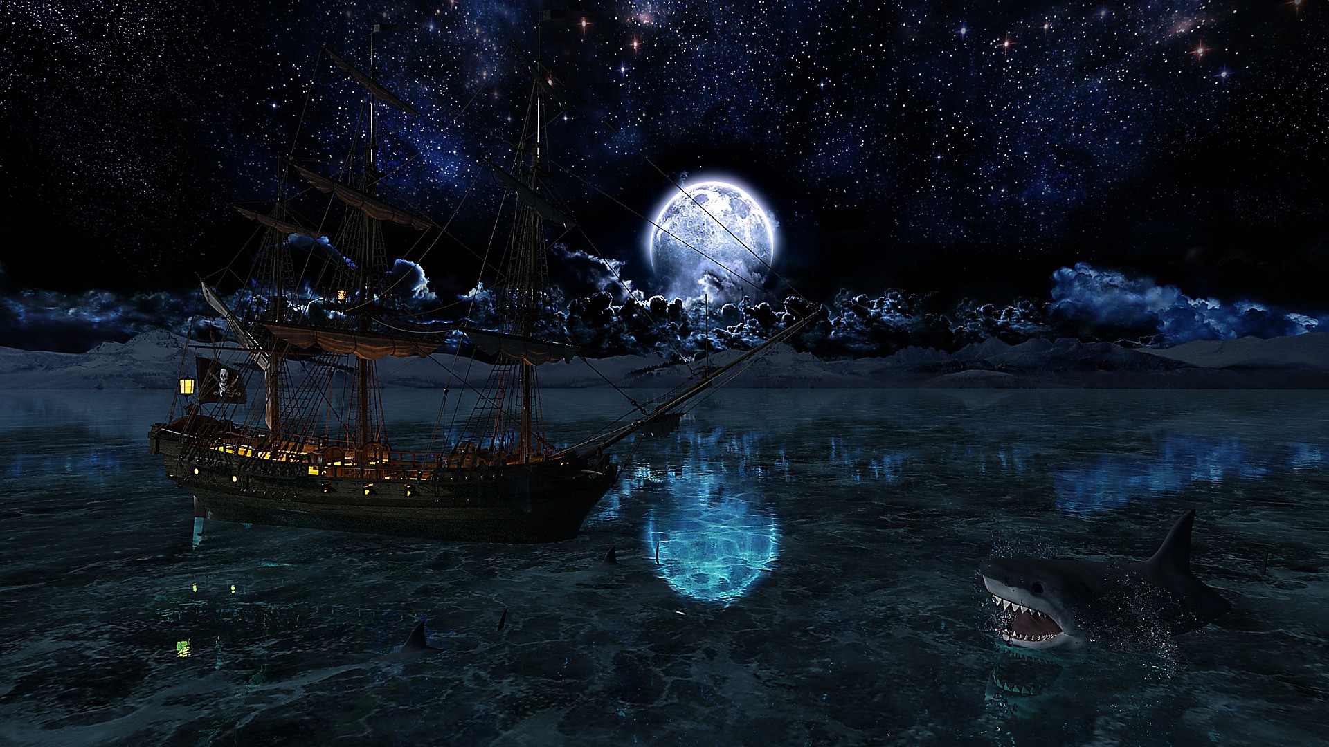 Pirate ship flying a skull-n-crossbones flag asail on a dimly moonlit sea while a shark awaits at right bottom foreground with gaping teeth.