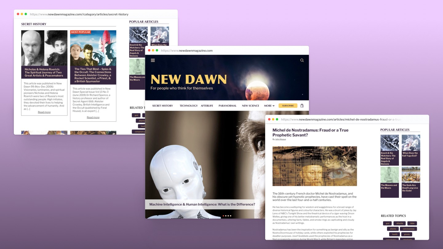 Browser mock-up of high fidelity prototypes of section, home and article pages.
