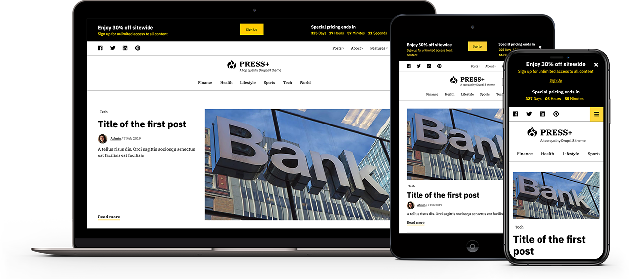 New Drupal 8 theme and Progressive Web App now out, for news and