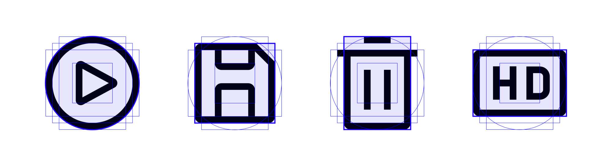 IBM icons for Play, Save, Delete, and HD reference keyshapes