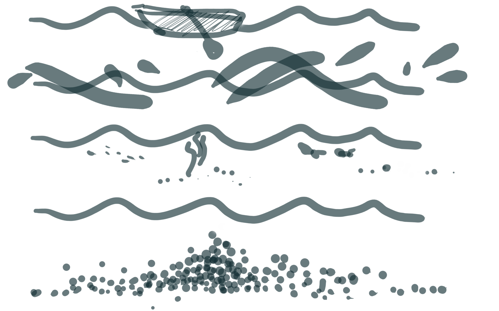 Doodle of the content design ecosystem presented as a ocean with many layers and a boat floating on top.