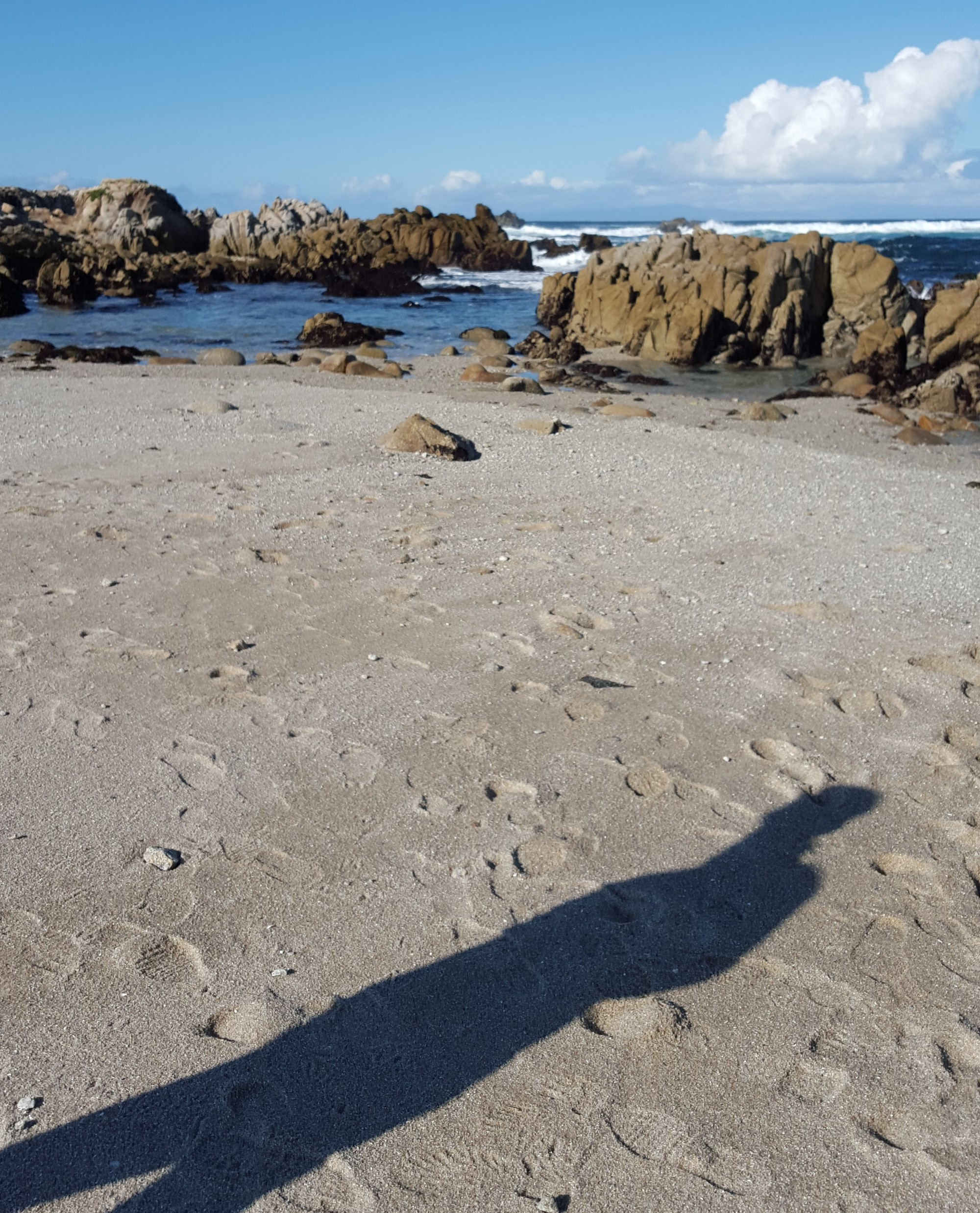 A rocky California shoreline. A shadow of a man appears in the sand in the foreground.