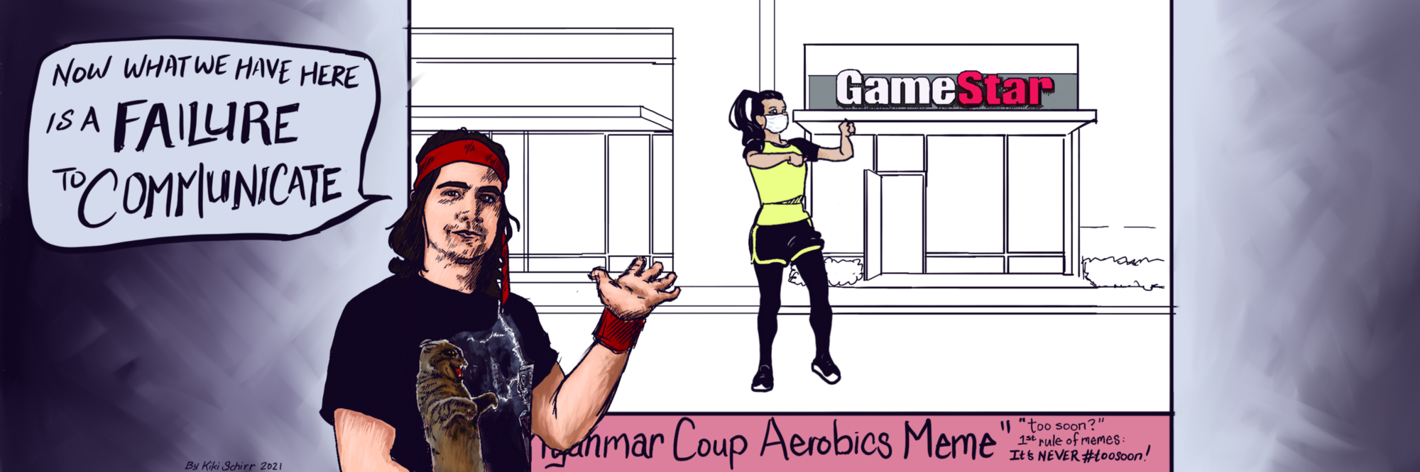 A Financial Meme Trends Analyst gives a presentation explaining the Myanmar Coup Aerobics Meme about GameStop shorts